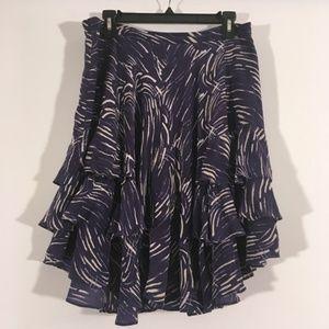 Anthropologie Navy Silk Floral Straight Skirt 10